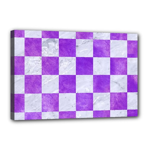 Square1 White Marble & Purple Watercolor Canvas 18  X 12  by trendistuff