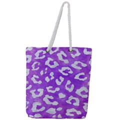Skin5 White Marble & Purple Watercolor (r) Full Print Rope Handle Tote (large) by trendistuff