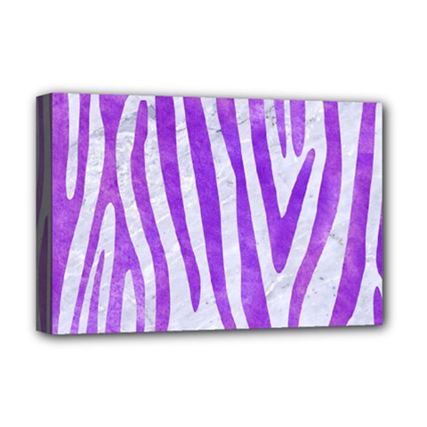 Skin4 White Marble & Purple Watercolor Deluxe Canvas 18  X 12   by trendistuff