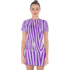 Skin4 White Marble & Purple Watercolor Drop Hem Mini Chiffon Dress