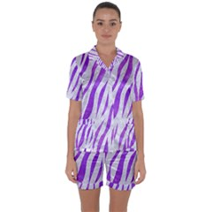 Skin3 White Marble & Purple Watercolor (r) Satin Short Sleeve Pyjamas Set