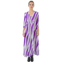 Skin3 White Marble & Purple Watercolor (r) Button Up Boho Maxi Dress