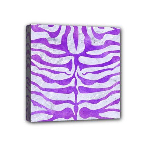 Skin2 White Marble & Purple Watercolor (r) Mini Canvas 4  X 4