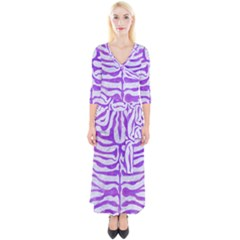 Skin2 White Marble & Purple Watercolor (r) Quarter Sleeve Wrap Maxi Dress