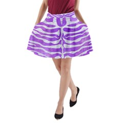 Skin2 White Marble & Purple Watercolor A Line Pocket Skirt by trendistuff