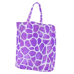 Skin1 White Marble & Purple Watercolor (r) Giant Grocery Zipper Tote