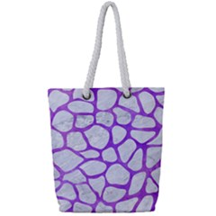 Skin1 White Marble & Purple Watercolor Full Print Rope Handle Tote (small) by trendistuff