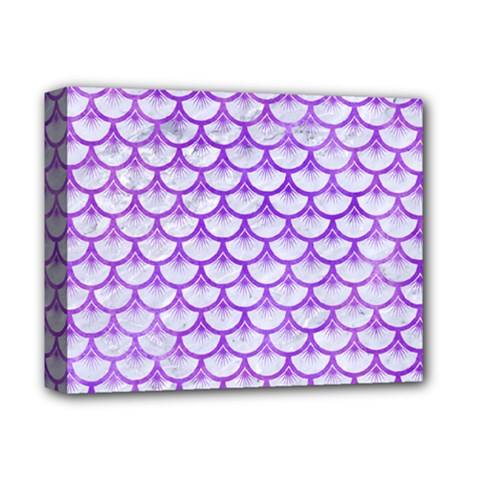 Scales3 White Marble & Purple Watercolor (r) Deluxe Canvas 14  X 11  by trendistuff