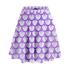 Scales3 White Marble & Purple Watercolor (r) High Waist Skirt by trendistuff