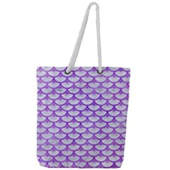 Scales3 White Marble & Purple Watercolor (r) Full Print Rope Handle Tote (large) by trendistuff