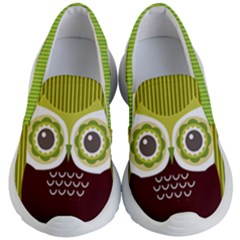 Yellow Green Fun Owls Print Kid s Lightweight Slip Ons by PattyVilleDesigns