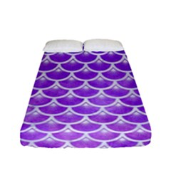 Scales3 White Marble & Purple Watercolor Fitted Sheet (full/ Double Size) by trendistuff