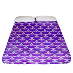 Scales3 White Marble & Purple Watercolor Fitted Sheet (california King Size) by trendistuff