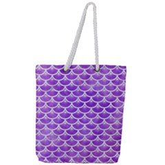 Scales3 White Marble & Purple Watercolor Full Print Rope Handle Tote (large) by trendistuff