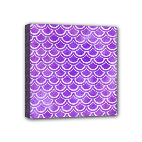 Scales2 White Marble & Purple Watercolor Mini Canvas 4  X 4  by trendistuff