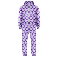 Scales1 White Marble & Purple Watercolor (r) Hooded Jumpsuit (men)  by trendistuff