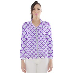 Scales1 White Marble & Purple Watercolor (r) Wind Breaker (women)