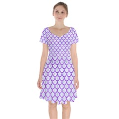Scales1 White Marble & Purple Watercolor (r) Short Sleeve Bardot Dress by trendistuff