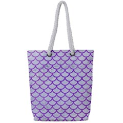 Scales1 White Marble & Purple Watercolor (r) Full Print Rope Handle Tote (small) by trendistuff