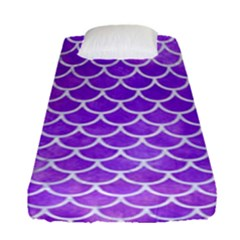 Scales1 White Marble & Purple Watercolor Fitted Sheet (single Size) by trendistuff