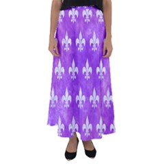 Royal1 White Marble & Purple Watercolor (r) Flared Maxi Skirt by trendistuff