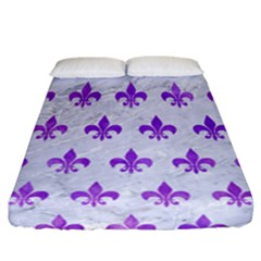 Royal1 White Marble & Purple Watercolor Fitted Sheet (california King Size) by trendistuff