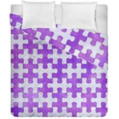 Puzzle1 White Marble & Purple Watercolor Duvet Cover Double Side (california King Size) by trendistuff