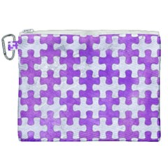 Puzzle1 White Marble & Purple Watercolor Canvas Cosmetic Bag (xxl) by trendistuff