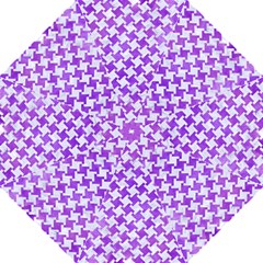 Houndstooth2 White Marble & Purple Watercolor Hook Handle Umbrellas (large) by trendistuff