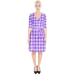 Houndstooth1 White Marble & Purple Watercolor Wrap Up Cocktail Dress