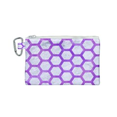 Hexagon2 White Marble & Purple Watercolor (r) Canvas Cosmetic Bag (small) by trendistuff