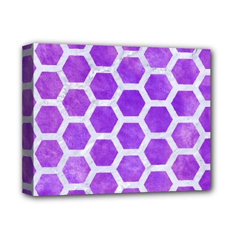 Hexagon2 White Marble & Purple Watercolor Deluxe Canvas 14  X 11  by trendistuff