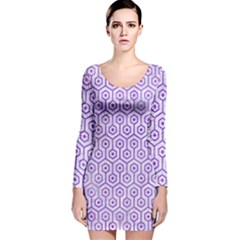 Hexagon1 White Marble & Purple Watercolor (r) Long Sleeve Velvet Bodycon Dress