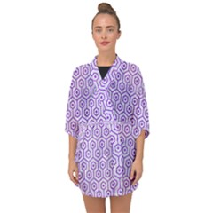 Hexagon1 White Marble & Purple Watercolor (r) Half Sleeve Chiffon Kimono