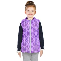 Hexagon1 White Marble & Purple Watercolor Kid s Hooded Puffer Vest