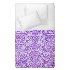 Damask2 White Marble & Purple Watercolor (r) Duvet Cover (single Size) by trendistuff