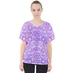 Damask2 White Marble & Purple Watercolor (r) V Neck Dolman Drape Top