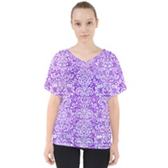 Damask2 White Marble & Purple Watercolor V Neck Dolman Drape Top