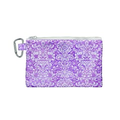 Damask2 White Marble & Purple Watercolor Canvas Cosmetic Bag (small) by trendistuff