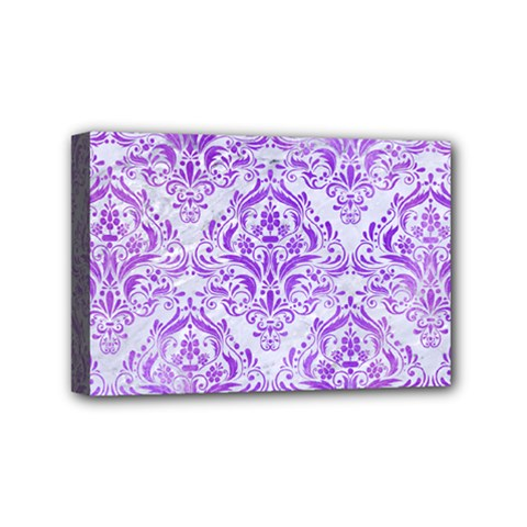 Damask1 White Marble & Purple Watercolor (r) Mini Canvas 6  X 4