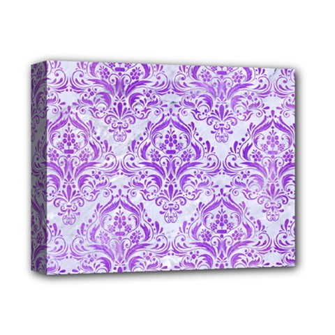 Damask1 White Marble & Purple Watercolor (r) Deluxe Canvas 14  X 11  by trendistuff