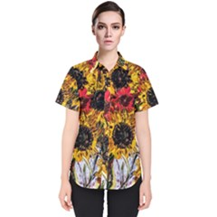 Sunflowers In A Scott House Women s Short Sleeve Shirt by bestdesignintheworld
