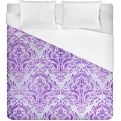 Damask1 White Marble & Purple Watercolor (r) Duvet Cover (king Size) by trendistuff