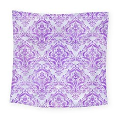 Damask1 White Marble & Purple Watercolor (r) Square Tapestry (large) by trendistuff