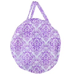 Damask1 White Marble & Purple Watercolor (r) Giant Round Zipper Tote by trendistuff