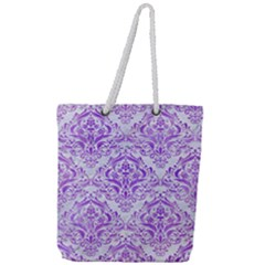 Damask1 White Marble & Purple Watercolor (r) Full Print Rope Handle Tote (large) by trendistuff