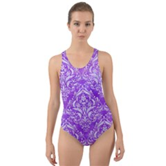 Damask1 White Marble & Purple Watercolor Cut Out Back One Piece Swimsuit