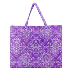 Damask1 White Marble & Purple Watercolor Zipper Large Tote Bag by trendistuff