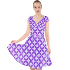 Circles3 White Marble & Purple Watercolor (r) Cap Sleeve Front Wrap Midi Dress