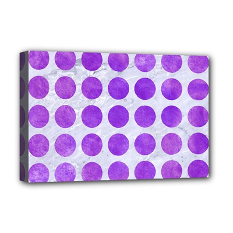 Circles1 White Marble & Purple Watercolor (r) Deluxe Canvas 18  X 12   by trendistuff